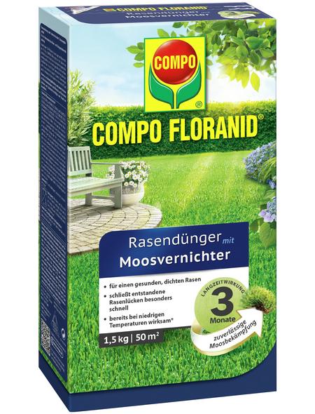 COMPO Rasendünger & Moosvernichter »FLORANID«, 1,5 kg, für 50 m², schützt vor Moos