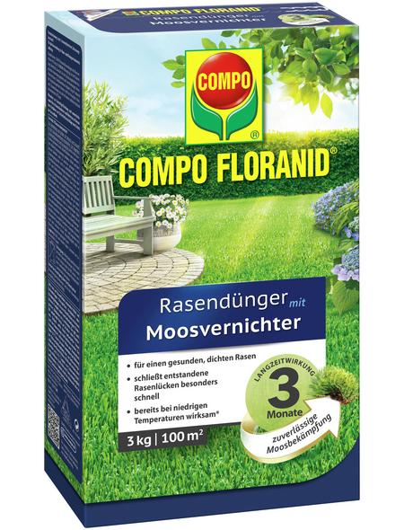 COMPO Rasendünger & Moosvernichter »FLORANID«, 3 kg, für 100 m², schützt vor Moos
