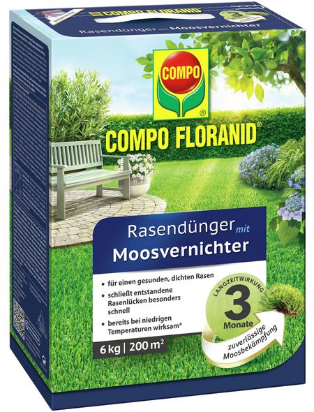 COMPO Rasendünger & Moosvernichter »FLORANID«, 6 kg, für 200 m², schützt vor Moos