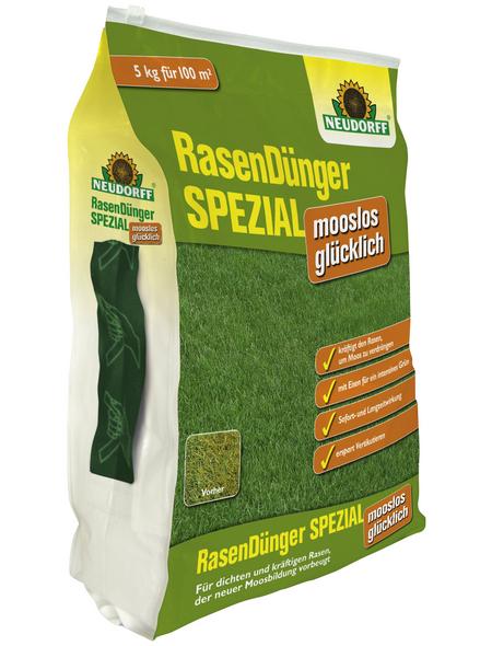 NEUDORFF Rasendünger & Moosvernichter »SPEZIAL mooslos glücklich«, 5 kg, für 100 m²