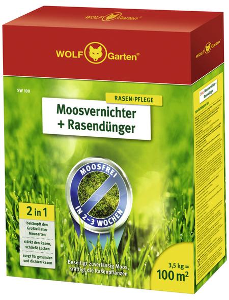 WOLF GARTEN Rasendünger & Moosvernichter »SW 100«, 3,5 kg, für 100 m², schützt vor Moos