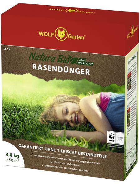 WOLF GARTEN Rasendünger »Natura Bio«, 3,4 kg, für 50 m², schützt vor Verbrennung der Rasengräser