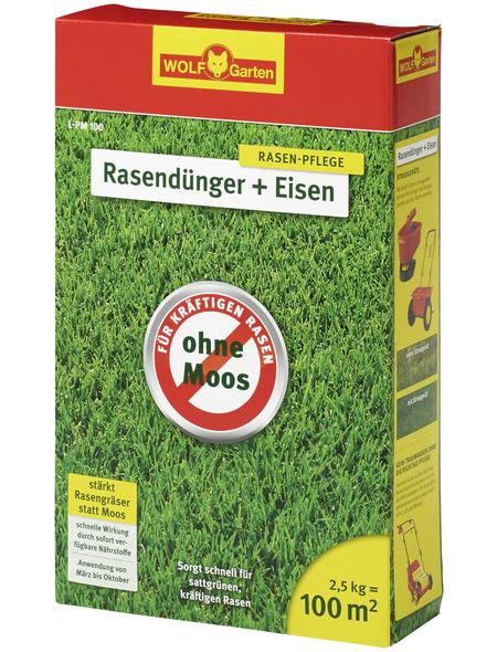 WOLF GARTEN Rasendünger »Plus Eisen L-PM 100«, 2,5 kg, für 100 m², schützt vor Moos