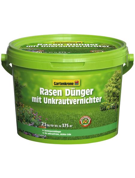 GARTENKRONE Rasendünger & Unkrautvernichter, 7,5 kg, für 375 m², schützt vor Unkraut & Nährstoffmangel