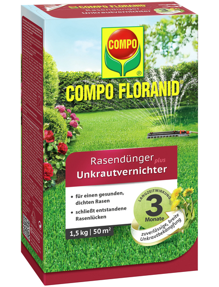 COMPO Rasendünger & Unkrautvernichter »FLORANID«, 1,5 kg für 50 m², schützt vor Unkraut