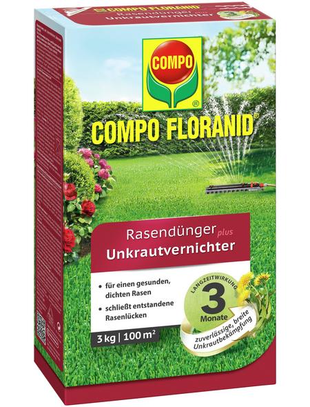 COMPO Rasendünger & Unkrautvernichter »FLORANID«, 3 kg, für 100 m², schützt vor Unkraut