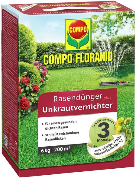 COMPO Rasendünger & Unkrautvernichter »FLORANID«, 6 kg für 200 m², schützt vor Unkraut