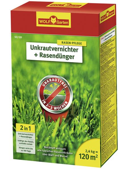 WOLF GARTEN Rasendünger & Unkrautvernichter »Plus Rasendünger SQ 120«, 2,4 kg, für 120 m², schützt vor Unkraut