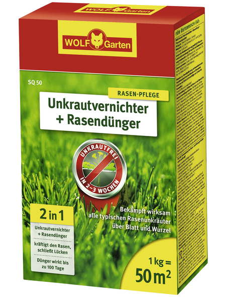 WOLF GARTEN Rasendünger & Unkrautvernichter »Plus Rasendünger SQ 50«, 1 kg, für 50 m², schützt vor Unkraut