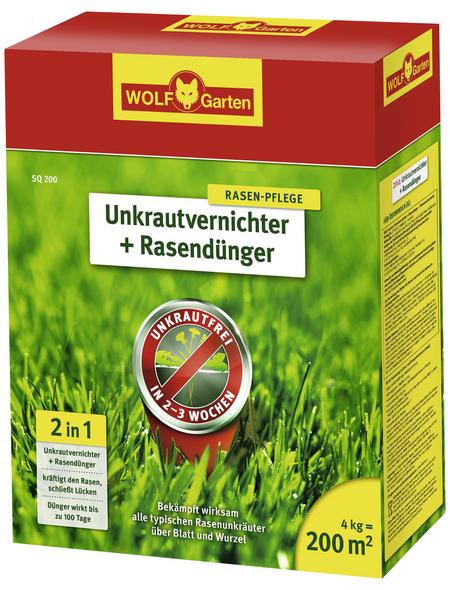 WOLF GARTEN Rasendünger & Unkrautvernichter »Plus SQ 200«, 4 kg, für 200 m², schützt vor Unkraut