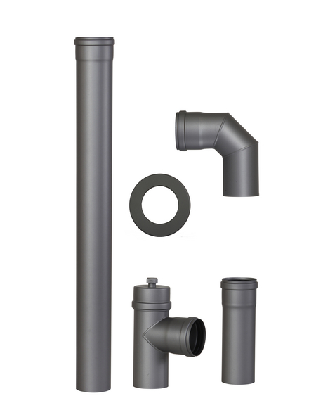 COLOR EMAJL Rauchrohr-Set, ØxL: 5 x 25 cm, Stärke: 2 mm, Stahl
