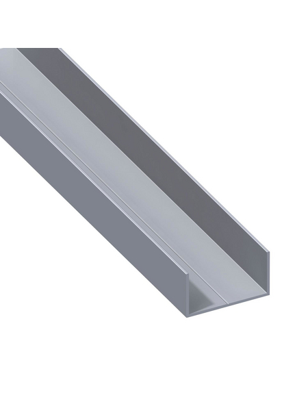 alfer® aluminium Rechteck-U-Profil, LxBxH: 1000 x 65,6 x 35,5 mm, Aluminium