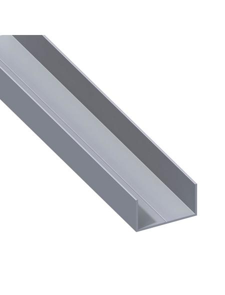 alfer® aluminium Rechteck-U-Profil, LxBxH: 2500 x 43,5 x 23,5 mm, Aluminium