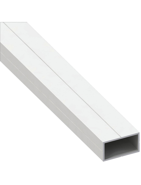 alfer® aluminium Rechteckrohr, Combitech®, 1000 x 12,5 x 12,5 x 1 mm, Weiß, PVC