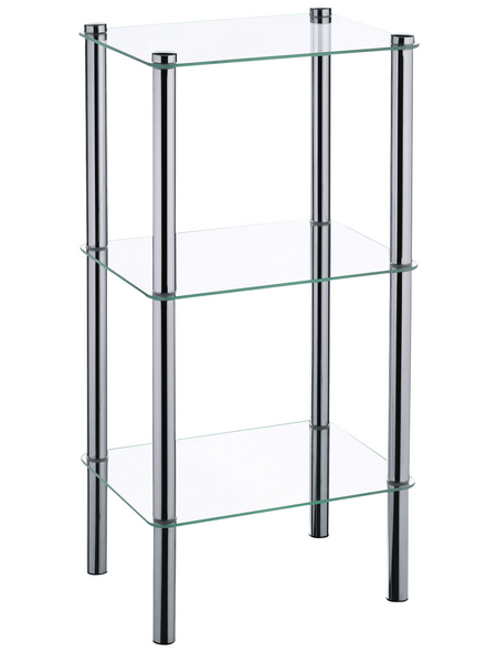 KELA Regal, Lars, 3 Etagen, Metall   Glas, Silber