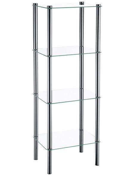 KELA Regal, Lars, 4 Etagen, Metall | Glas, Silber