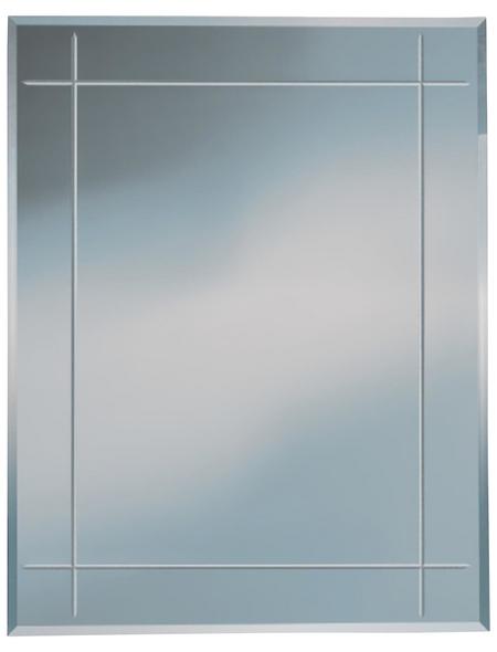 KRISTALLFORM Rillenschliffspiegel »Karo«, eckig, BxH: 55 x 70 cm, silberfarben