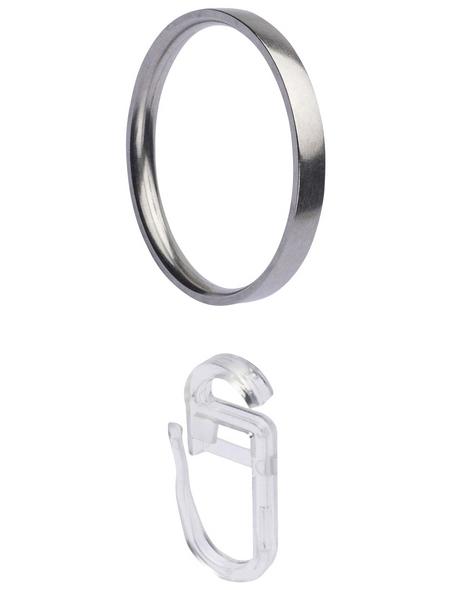 LIEDECO Ring, Inox, mit Faltenlegehaken, Silber, 8 Stück, 20 mm
