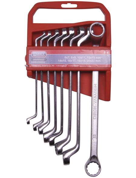 CONNEX Ringschlüsselsatz, 8-teilig, Schlüsselgröße: 6 - 22 mm
