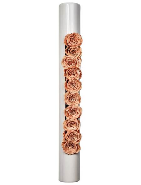 Rosen in Keramik »Infinity-Bloom«,  bigTube, weiss/rose, BxHxT: 65 x 7,5 x 11  cm