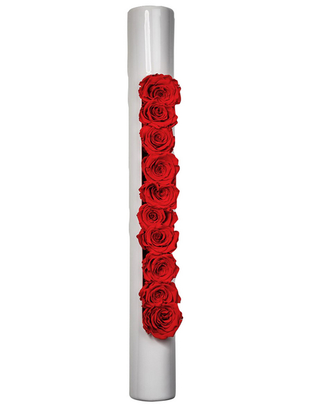 Rosen in Keramik »Infinity-Bloom«,  bigTube, weiss/rot, BxHxT: 65 x 7,5 x 11  cm