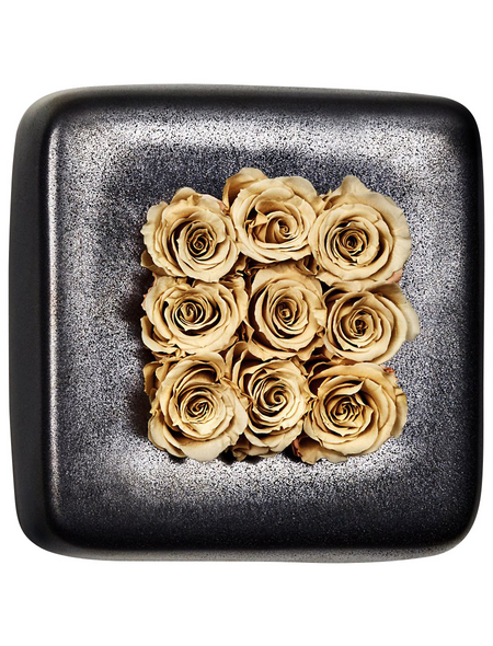 Rosen in Keramik »Infinity-Bloom«,  Chest, anthrazit/champagne, BxHxT: 16 x 16 x 9  cm
