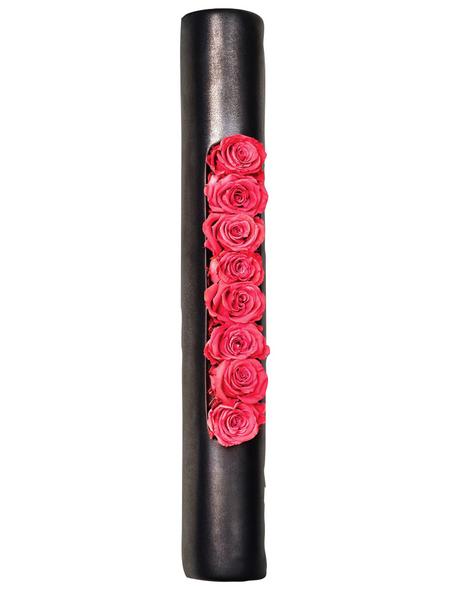 Rosen in Keramik »Infinity-Bloom«,   Tube, anthrazit/hellrot, BxHxT: 40 x 6,5 x 9  cm