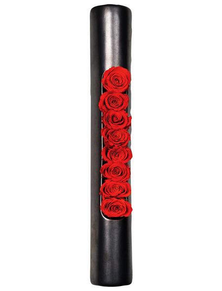 Rosen in Keramik »Infinity-Bloom«,  Tube, anthrazit/rot, BxHxT: 40 x 6,5 x 9  cm