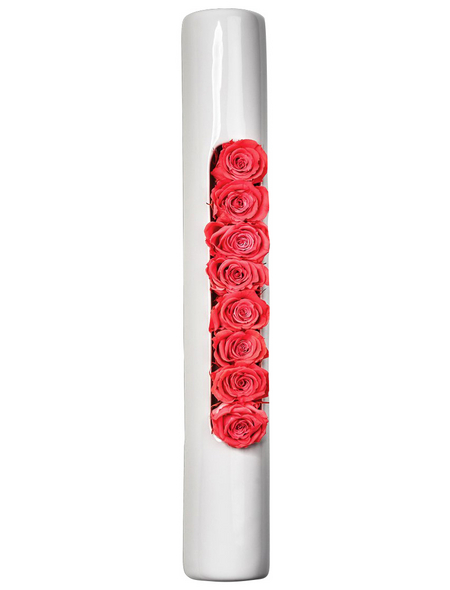 Rosen in Keramik »Infinity-Bloom«,  Tube, weiss/hellrot, BxHxT: 40 x 6,5 x 9  cm