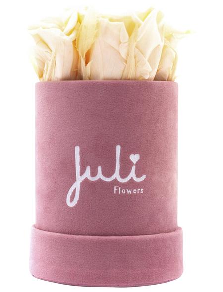 JULI FLOWERS Rosenbox, champagner, Größe: XS mit 4 Rosen, rund