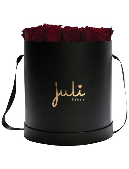 JULI FLOWERS Rosenbox, dunkelrot, Größe: Small mit 19 Rosen, rund