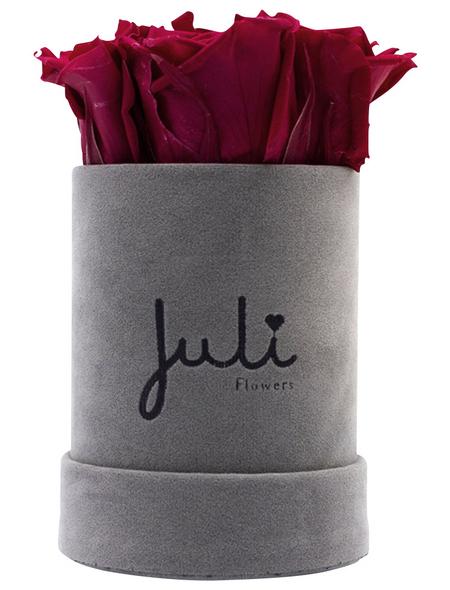 JULI FLOWERS Rosenbox, dunkelrot, Größe: XS mit 4 Rosen, rund