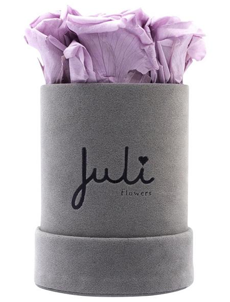 JULI FLOWERS Rosenbox, flieder, Größe: XS mit 4 Rosen, rund