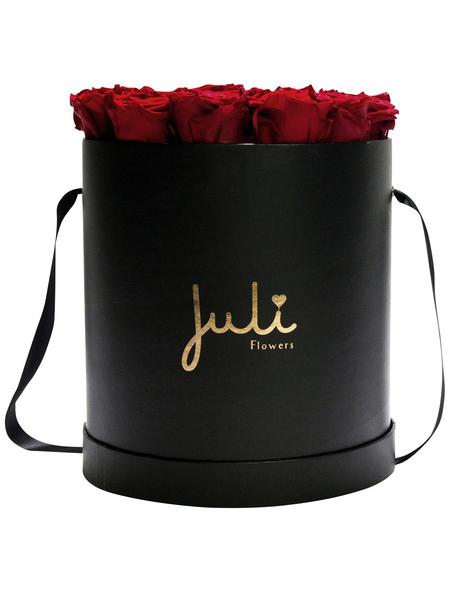 JULI FLOWERS Rosenbox, rot, Größe: Small mit 19 Rosen, rund