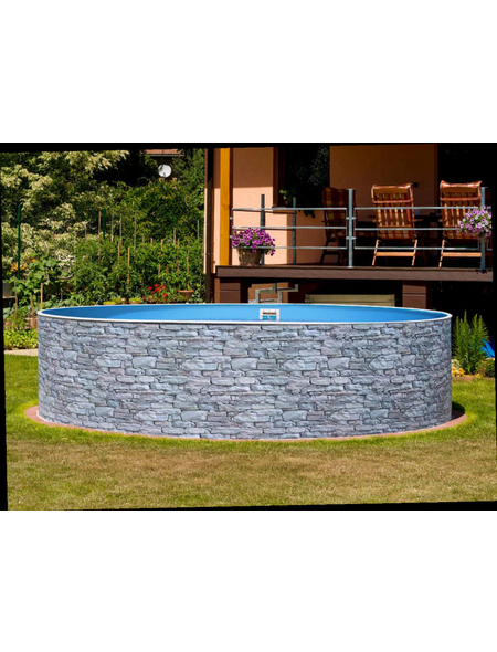 MYPOOL Rundpool, steinfarben, ØxH: 350 x 120 cm