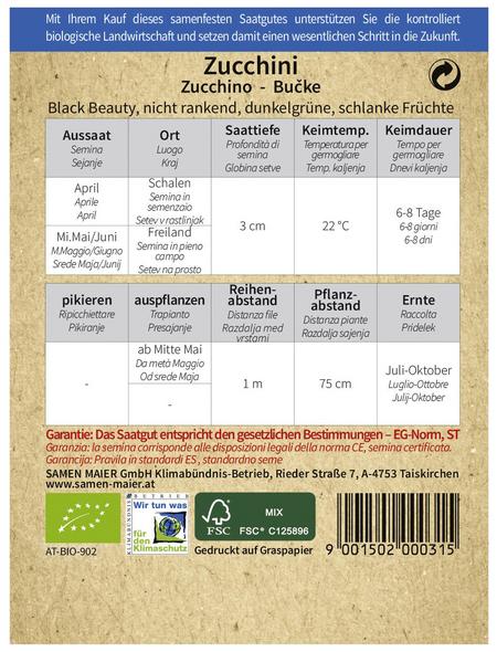 SAMEN MAIER Samen Bio Zucchini, Black Beauty