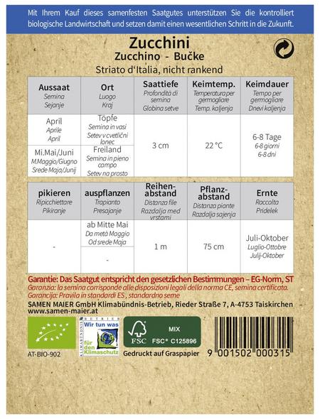 SAMEN MAIER Samen Bio Zucchini, Striato d'Italia