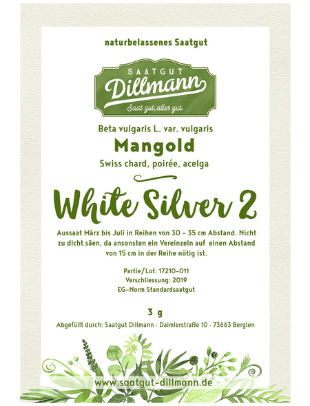 SAATGUT DILLMANN Samen Mangold White Silver ungebeizt
