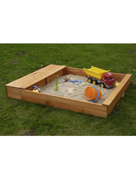 PROMADINO Sandkasten-Sitzbox »Multi«, BxL: 140 x 32 cm, Kiefernholz honigbraun