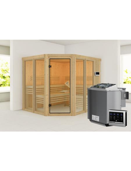 KARIBU Sauna »Ainur« inkl. 9 kW Bio-Kombi-Saunaofen mit externer Steuerung für 5 Personen