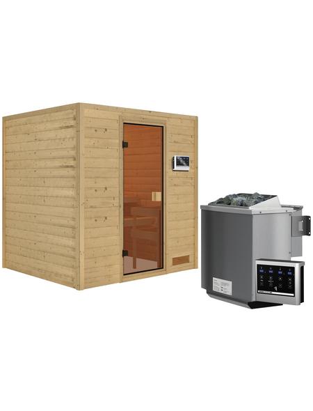 WOODFEELING Sauna »Anja«, BxTxH: 196 x 170 x 170 cm, 9 kw, Bio-Kombi-Saunaofen, ext. Steuerung
