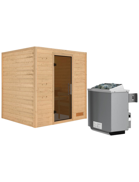 WOODFEELING Sauna »Anja«, BxTxH: 196 x 170 x 170 cm, 9 kw, Saunaofen, int. Steuerung