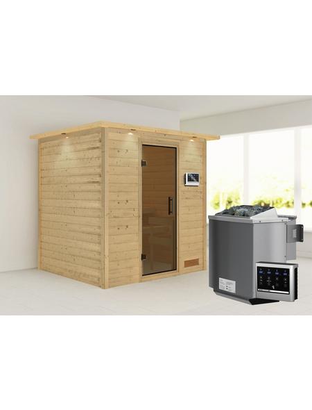 WOODFEELING Sauna »Anja«, BxTxH: 224 x 184 x 184 cm, 9 kw, Bio-Kombi-Saunaofen, ext. Steuerung