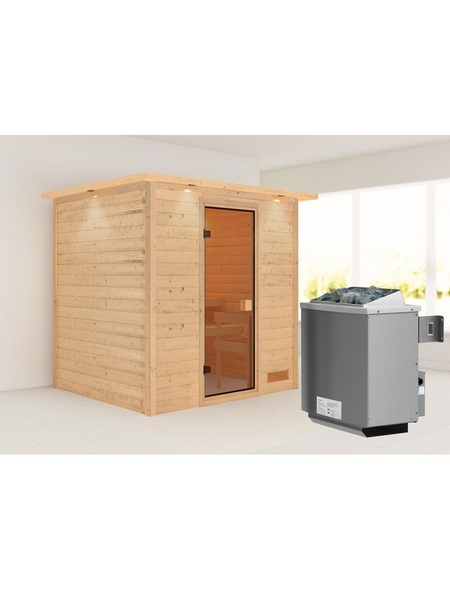 WOODFEELING Sauna »Anja«, BxTxH: 224 x 184 x 184 cm, 9 kw, Saunaofen, int. Steuerung