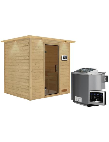 WOODFEELING Sauna »Anja«, inkl. 9 kW Bio-Kombi-Saunaofen mit externer Steuerung für 3 Personen