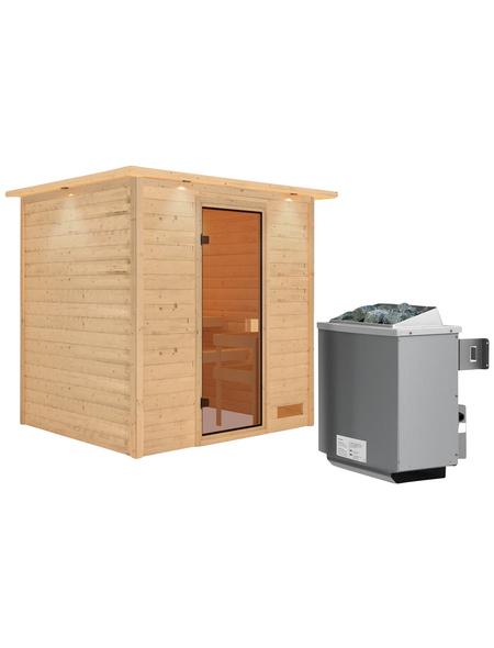 WOODFEELING Sauna »Anja«, inkl. 9 kW Saunaofen mit integrierter Steuerung für 3 Personen