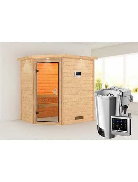 KARIBU Sauna »Baldohn«, BxTxH: 224 x 160 x 160 cm, 3,6 kw, Plug&Play-Saunaofen, ext. Steuerung