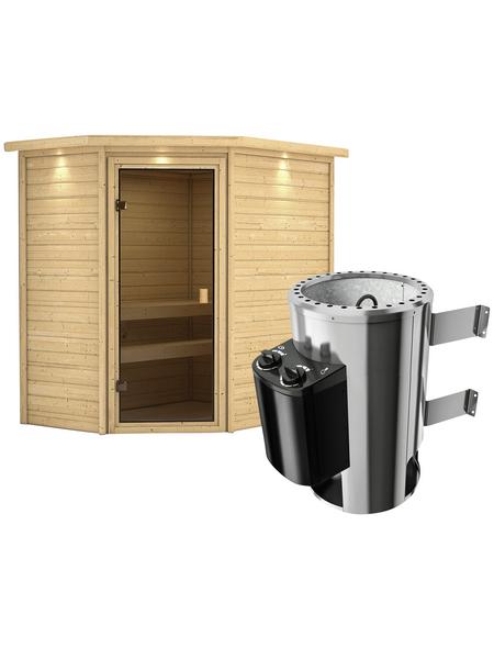 KARIBU Sauna »Baldohn«, BxTxH: 224 x 160 x 160 cm, 3,6 kw, Plug&Play-Saunaofen, int. Steuerung