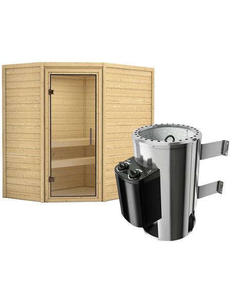 KARIBU Sauna »Baldohn«, inkl. 3.6 kW Plug&Play-Saunaofen mit integrierter Steuerung für 3 Personen