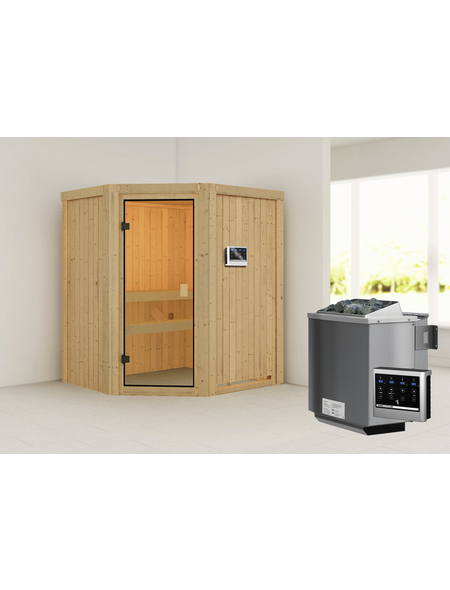 WOODFEELING Sauna »Faurin«, BxTxH: 170 x 151 x 151 cm, 9 kw, Bio-Kombi-Saunaofen, ext. Steuerung